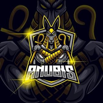 Anubis god esport logo design template vector illustration