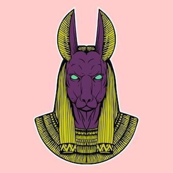 Anubis hand drawing illustration