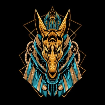 Anubis mecha robot vector illustration with geometric design