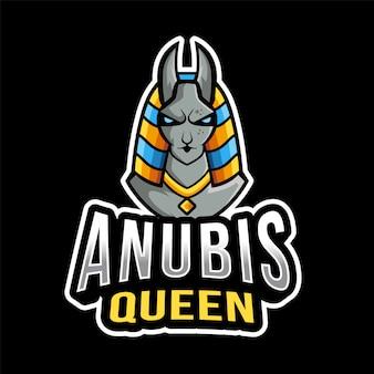 Шаблон логотипа anubis queen esport