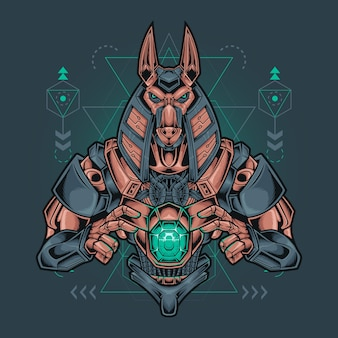 Anubis robotic with sacred geometry