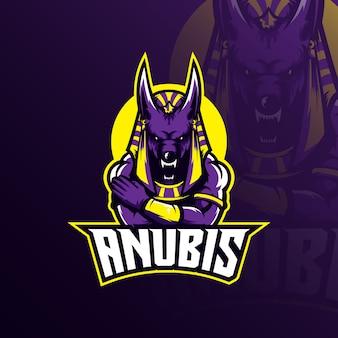 Anubis логотип талисман с современной иллюстрацией