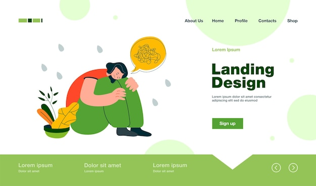 Anxiety and depression landing page in flat style
