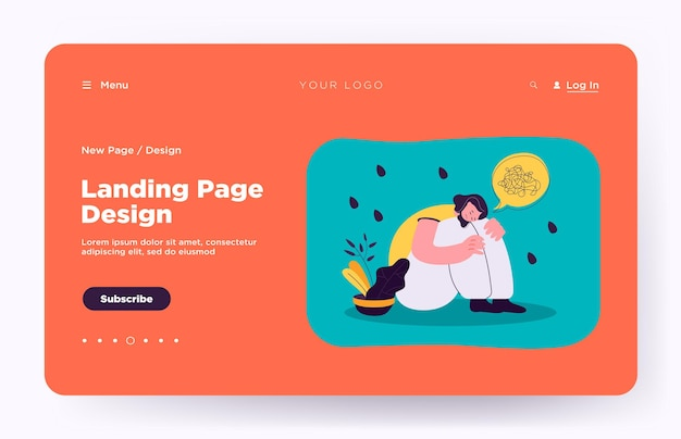 Anxiety and depression vector illustration landing page. unhappy lonely crying woman suffering from mental disorder, sitting on floor landing page