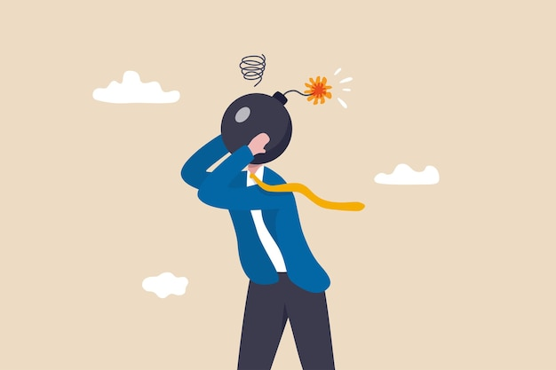 불안, 스트레스 또는 분노 감정, 정신적 문제 또는 우울증, 피로 또는 과로한 개념, 좌절한 신경질적인 사업가 폭탄 머리가 폭발하려고 합니다.