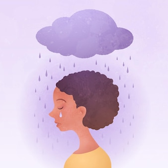 Anxiety vector illustration with sad young woman portrait and rainy cloud above the head