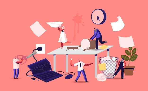 Anxious business characters in chaos office workplace. deadline failure, running furious stressed workers hurry up with job. employees in panic or stress workday. cartoon people vector illustration