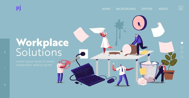 Anxious business characters in chaos office workplace landing page template. deadline failure, stressed workers hurry up with job. employees in panic stress workday. cartoon people vector illustration