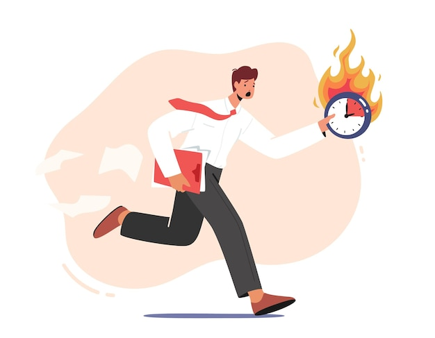 Anxious businessman character run with document folder and burning clock