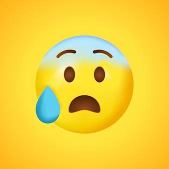 Беспокойное лицо в поту. синее лицо смайликов с потом. широкая улыбка в 3d