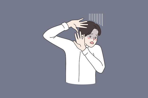 Anxious man fee frightened make stop hand gesture