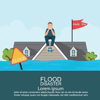 물 홍수 후 집의 지붕에 앉아 불안 남자.