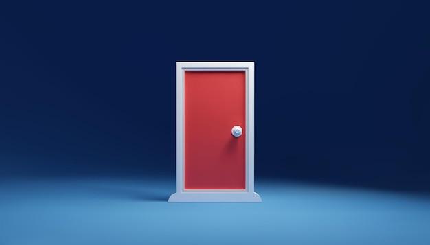 空の部屋のどこでもドア、問題を解決するための玄関ドア、ビジネスの鍵、eps10ベクトル。