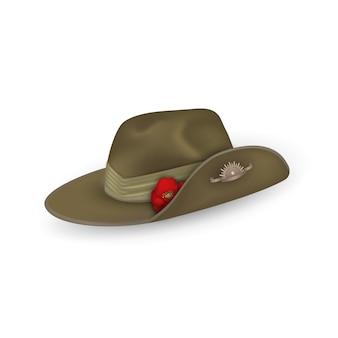 分離された赤いケシのアンザックオーストラリア軍前かがみ帽子。オーストラリア、ニュージーランドのアンザックデーまたは記念休戦の日のデザイン要素。