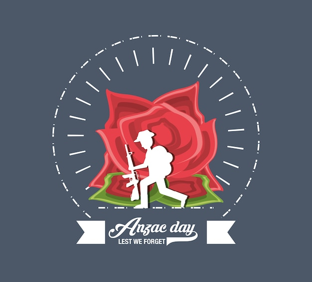 Anzac day design with silhouette of soldier and poppy