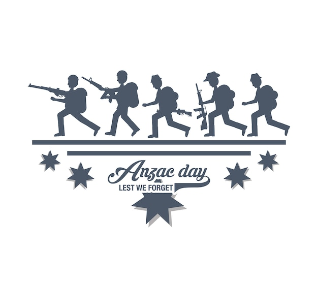 Anzac day design with silhouette of soldiers