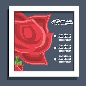 Анзак-дневная инфографическая презентация с иконкой макового цветка