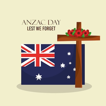 Anzac day lest we forget poster australian flag