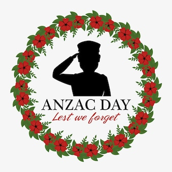 Anzac day poster with military soldier