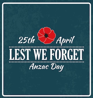 Anzac day typographic vector design lest we forget