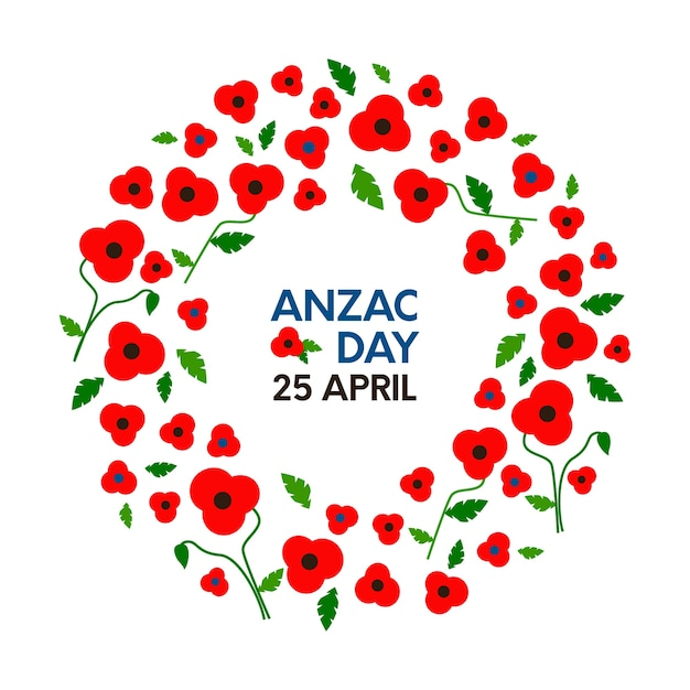 Anzac days card with poppy wreath.