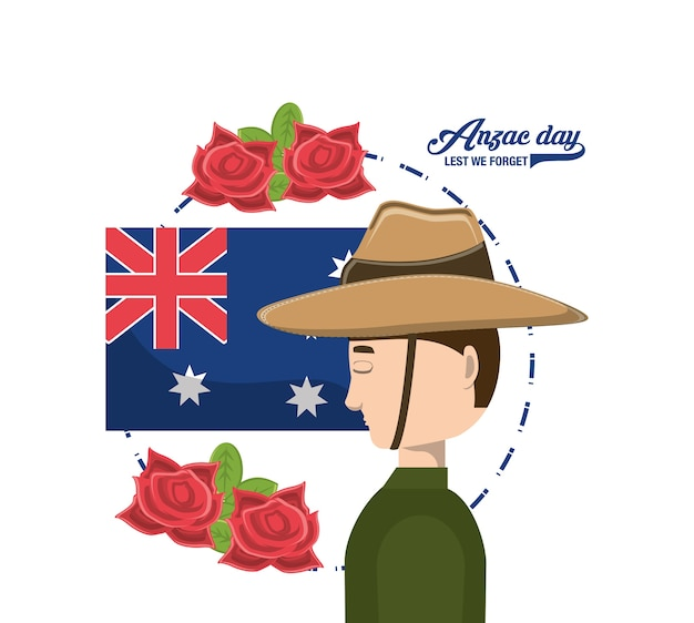 Anzac soldier and new zealand flag and poppies