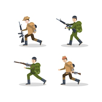 Anzac soldiers icon set