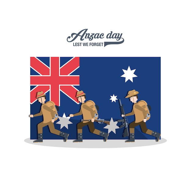 Anzac soldiers over new zealand flag