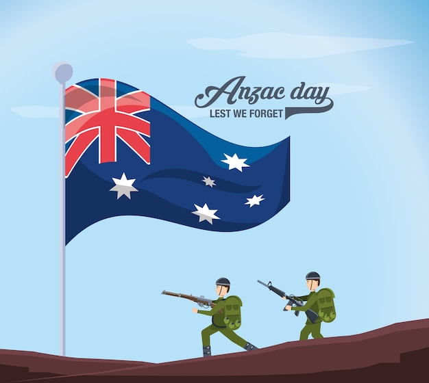 Anzac soldiers and new zealand flag