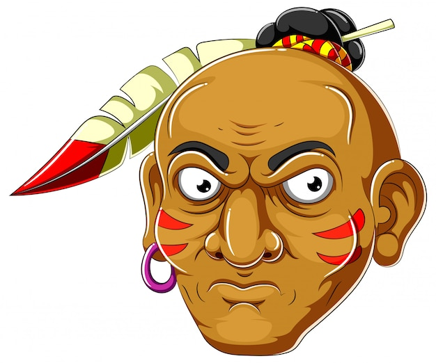 Apache head cartoon of illustration