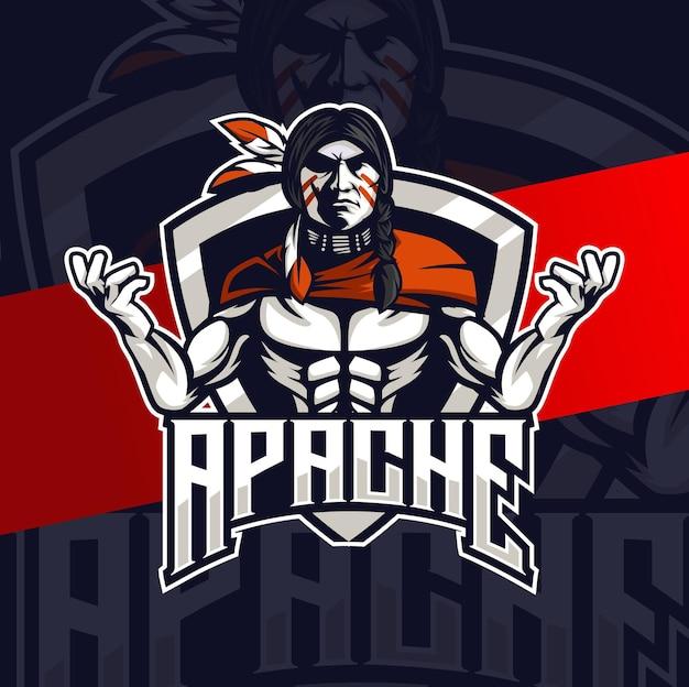 ゲームとスポーツのロゴのためのアパッチインディアンチーフマスコットeスポーツロゴデザインキャラクター