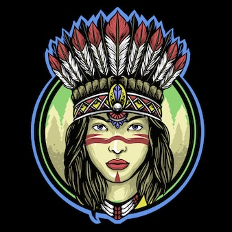 Apache indian girl  logo mascot design