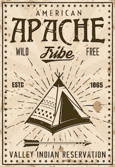 Apache indian tribe reservation vintage poster template