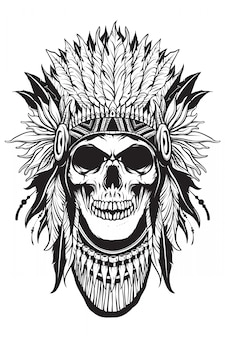 Apache skull thief with outline shape