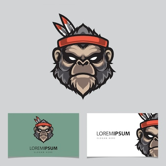 Шаблон карточки имени талисмана с изображением головы обезьяны apache
