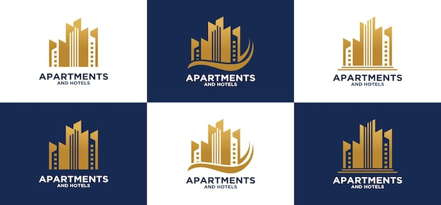 アパートとホテルの建物の建設グループのロゴゴールドのモダンでユニークな豪華な建物のロゴ