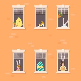 Фасад жилого дома с пасхальным характером соседа в открытых окнах. иллюстрация.