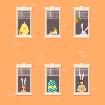Apartment building facade with neighbor easter character in open windows.  illustration.