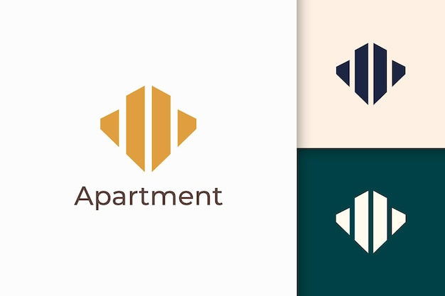Apartment or building logo in abstract shape for real estate business