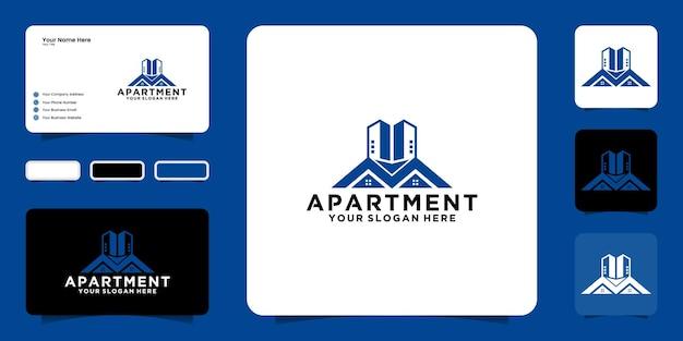 Вдохновение для дизайна логотипа многоквартирного дома, городских зданий и визитных карточек