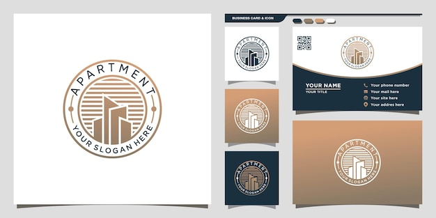 Логотип многоквартирного дома с уникальной концепцией круга и дизайном визитной карточки premium векторы