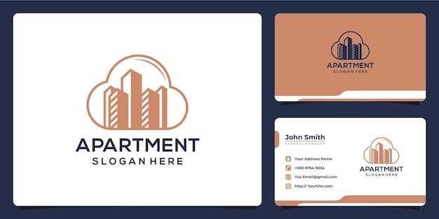 아파트 클라우드 럭셔리 골드 로고 디자인 및 명함