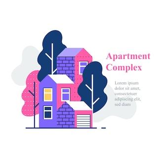 集合住宅、住宅街、住宅建設と開発、アイコン、フラットなイラスト