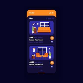 Шаблон вектора интерфейса смартфона стоимости квартиры. темно-синий дизайн-макет страницы мобильного приложения. цена на экран жилого дома. плоский интерфейс для приложения. меблированная квартира. дисплей телефона