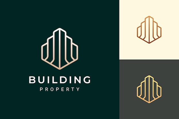 Apartment or hotel logo in luxury and futuristic shape