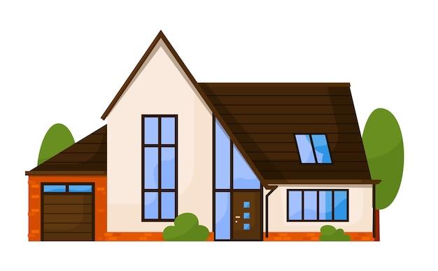 白い背景で隔離の集合住宅正面図