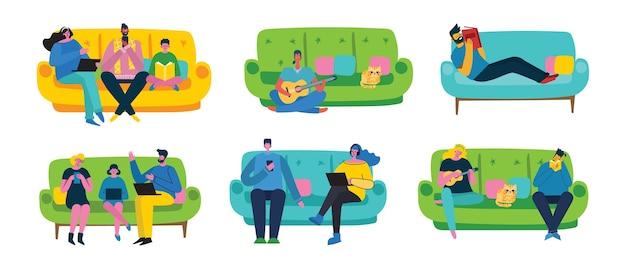 Дизайн интерьера квартиры и отдыхающая пара людей в плоском стиле