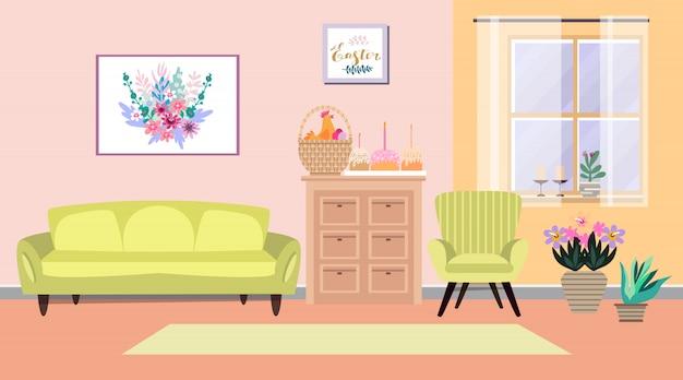 Apartment interior, easter season