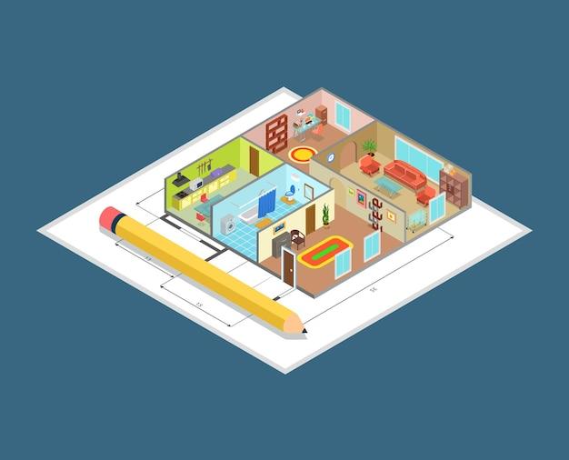 아파트 인테리어 계획 평면 아이소 메트릭 직업 개념 사이트 평면 방의 실내 벽 및 가구 개체. 창의적인 건축 디자인 컬렉션.