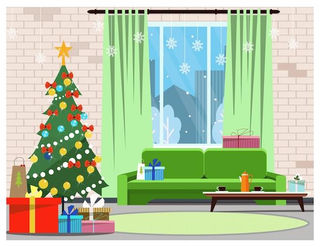 Интерьер квартиры с украшенной елкой, окном и диваном